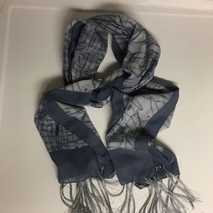Accessories - Nurel Blue Trimmed Sheer Fringed Wrap Scarf